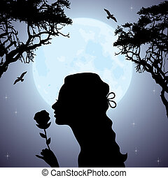 vector silhouette of a girl with a flower under tree