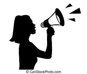 vector silhouette of a girl with a megaphone on white background