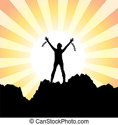 girl with raised hands and broken chains - vector silhouette...