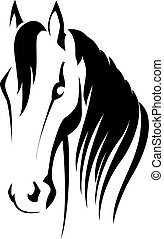 Vector silhouette of a horse head - horse head with flying...