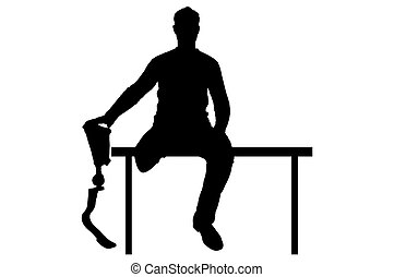 Vector silhouette of a man holding the hand of his...