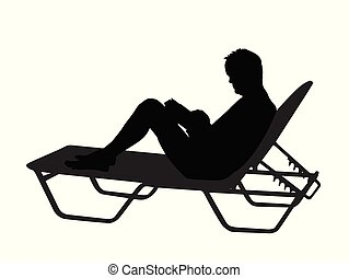 Vector silhouette of a man read book on chaise longue on white background