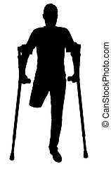 Vector silhouette of a man with an amputated leg standing...