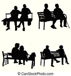 Vector silhouette of a people sitting on a park bench