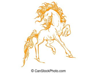 Vector silhouette of a running horse illustration