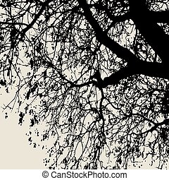Vector silhouette of a tree branch. Template for decoration