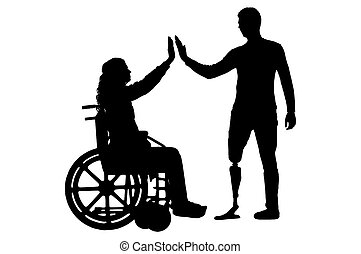 Vector silhouette of a woman in a wheelchair and a man with a prosthetic leg standing to support each other