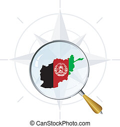 vector silhouette of Afghanistan with the flag under the magnifying glass