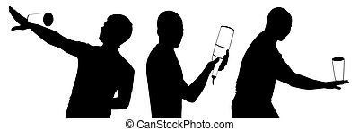 silhouette of barman - Vector silhouette of barman showing ...