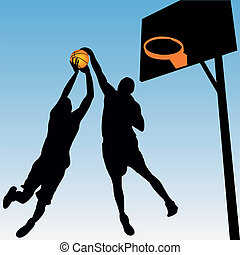 basketball players - vector silhouette of basketball players