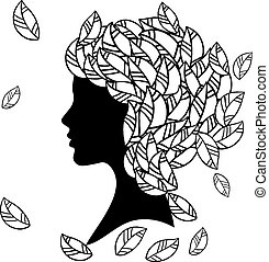 Vector silhouette of beautiful woman with Hairstyles