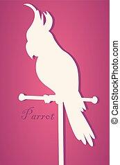 Vector silhouette of bird. Parrot on perch. Paper art -...