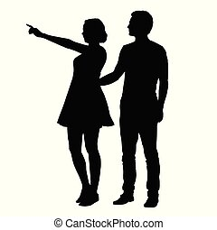 Vector silhouette of boy and girl standing together and pointing finger