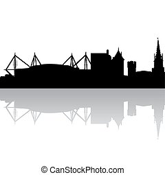Vector silhouette of Cardiff. UK