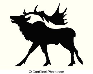 silhouette of caribou