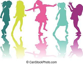 Vector silhouette of children