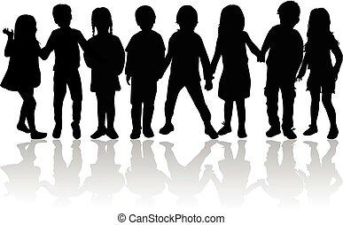 Vector silhouette of children on white background.