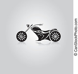 vector Silhouette of classic motorcycle. moto icon - vector...