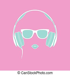 Vector silhouette of colored girl with headphones