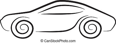 Vector silhouette of conceptual car with curly wheels