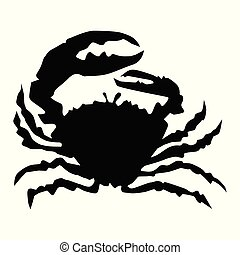 Vector silhouette of crab. Motives of gastronomy, delicacy, menu, ecology, sea life, underwater life