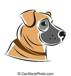 Vector Silhouette Of Dogs, Isolated On A Background. Illustration
