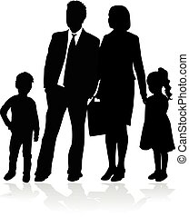 Vector silhouette of family. White background.