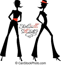 Vector silhouette of fashion girls top models