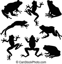 Frog illustrations - Vector Silhouette of Frog...