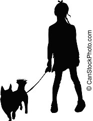 Vector silhouette of girl on white background.