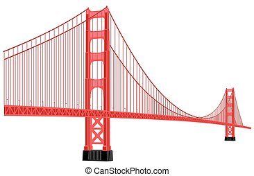 golden gate bridge - vector silhouette of golden gate bridge...