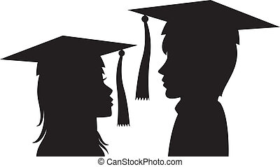 graduates young man and woman - vector silhouette of...
