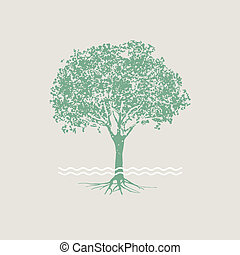 Vector silhouette of green tree