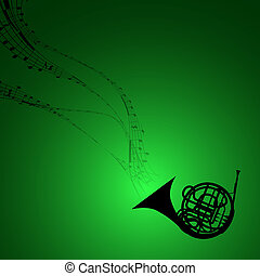 Horn with Musical Symbols