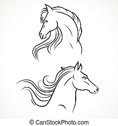 Vector silhouette of horses