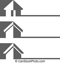 Vector silhouette of house, home symbols, buttons