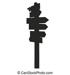 Vector silhouette of isolated signpost
