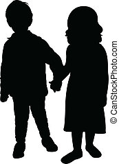 Vector Silhouette of kids