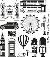 Vector silhouette of london landmarks. London architecture,...