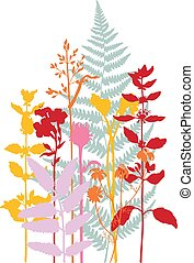 Vector silhouette of meadow wild grass and plants.