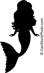 Vector Silhouette of Mermaid