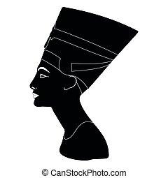 Vector silhouette of Nefertiti.