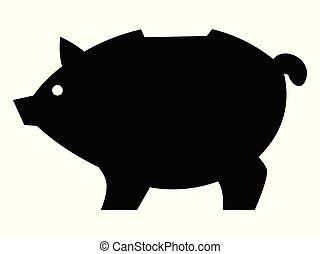 Vector silhouette of piggy bank. Motives of piggybacking, payment, marketing, trading, finance, banking, economy