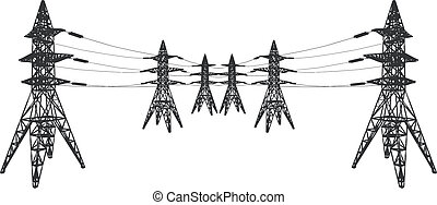 Vector silhouette of Power lines and electric pylons on...