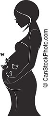Vector silhouette of pregnant woman