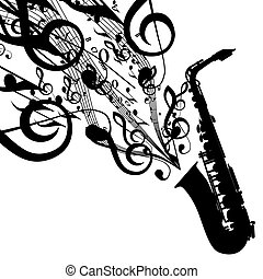 Vector Silhouette of Saxophone with Musical Symbols....