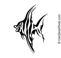 vector silhouette of sea fish on white background