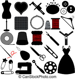 Sewing Tools and Handicraft - Vector Silhouette of Sewing...