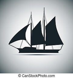 Vector silhouette of ship