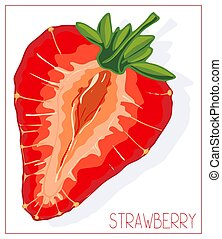 Vector silhouette of sliced strawberries. Isolated drawing fruit on a white background.